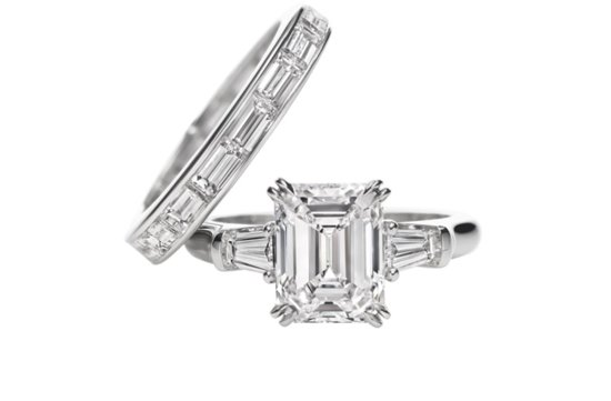 angelina jolie engagement ring emerald cut diamond engagement rings Harry Winston