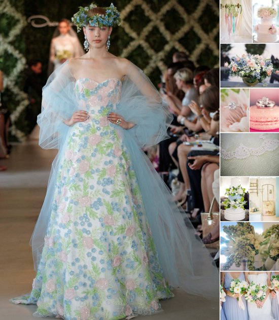 Swoon into Spring with pastel wedding colors inspired by Oscar de la Renta's floral print gown