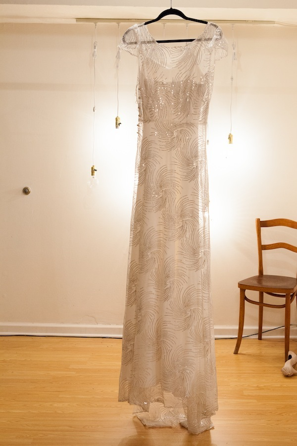 photo of sparkly vintage inspired wedding dress Sarah Seven