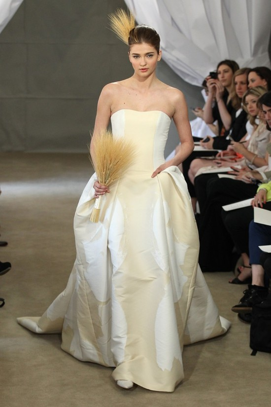 Spring 2013 bridal gowns Carolina Herrera wedding dress gold ivory fabric