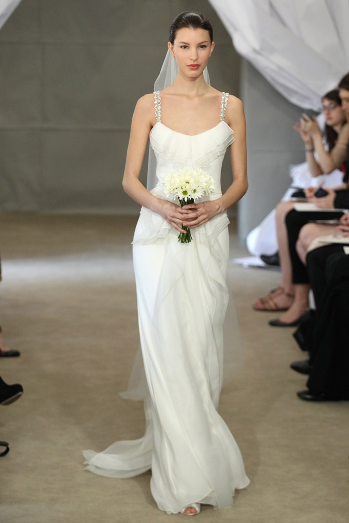 Spring 2013 bridal gowns carolina herrera wedding dress for Wedding dress spaghetti strap
