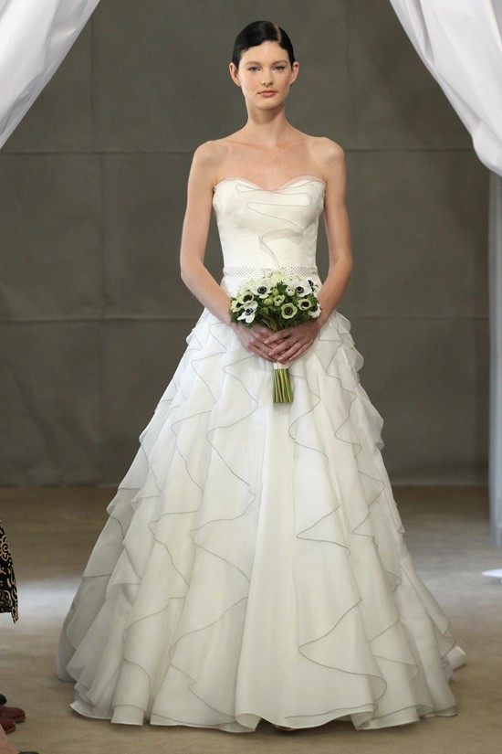 Spring 2013 bridal gowns Carolina Herrera wedding dress polka dot sash