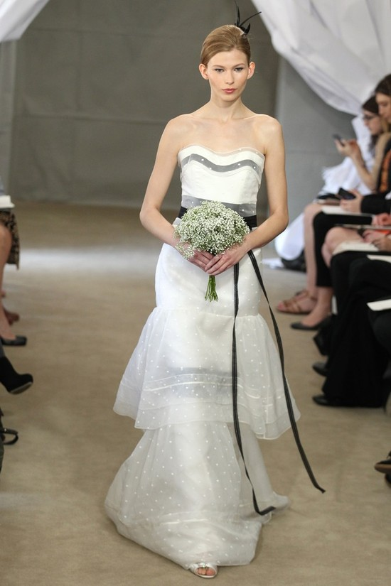 Spring 2013 bridal gowns Carolina Herrera wedding dress polka dots peplum