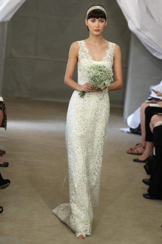 Spring 2013 bridal gowns Carolina Herrera wedding dress beaded lace sheath