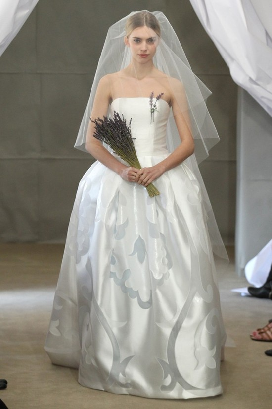 Spring 2013 bridal gowns Carolina Herrera wedding dress strapless ballgown ice blue details
