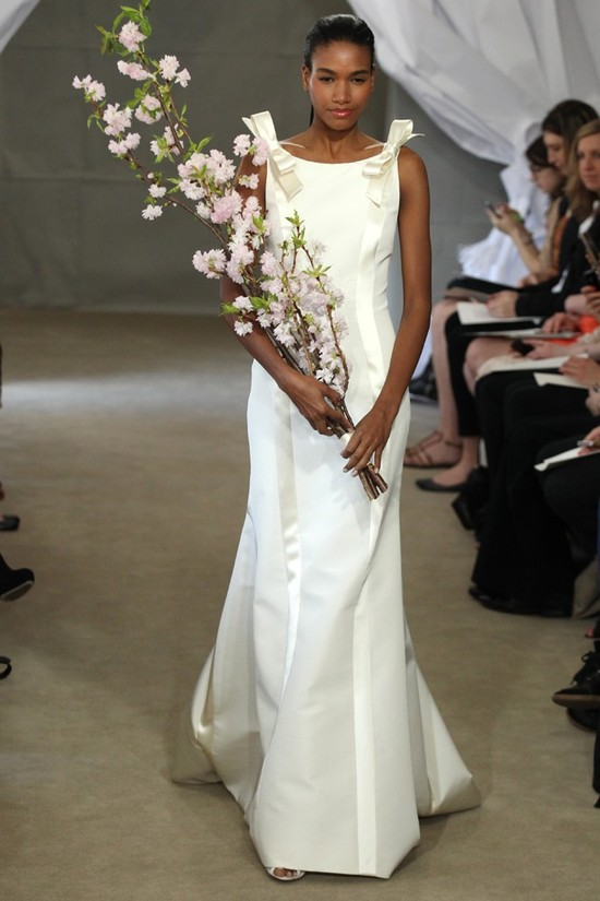 Spring 2013 bridal gowns Carolina Herrera wedding dress bow details