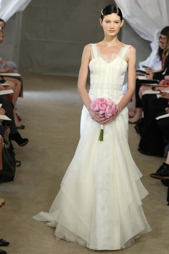 Spring 2013 bridal gowns Carolina Herrera wedding dress ivory vintage inspired straps
