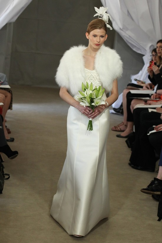 Spring 2013 bridal gowns Carolina Herrera wedding dress winter wedding fur bridal bolero