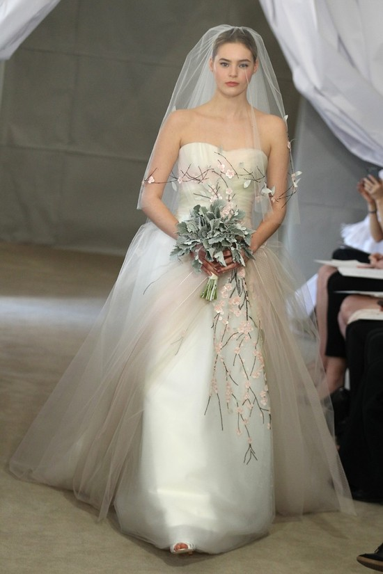 Spring 2013 bridal gowns Carolina Herrera wedding dress muted tulle sherbert