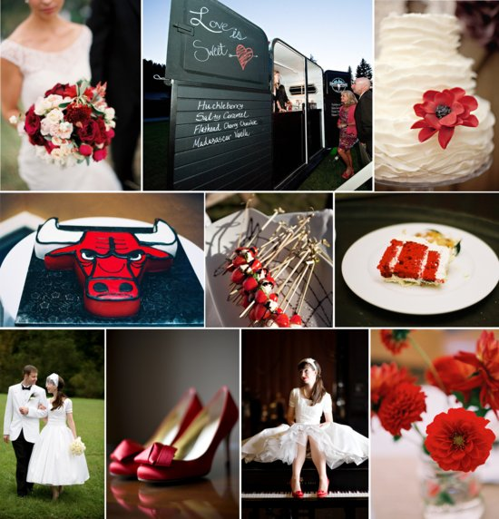 Sports-themed wedding ideas- Chicago Bulls inspired red, white and black