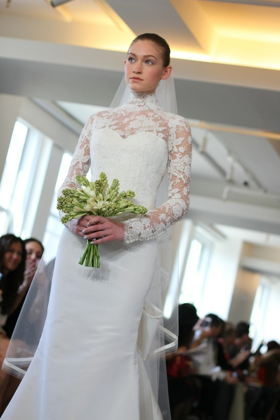 photo of spring 2013 wedding dress Oscar de la Renta bridal gowns lace sheer sleeves
