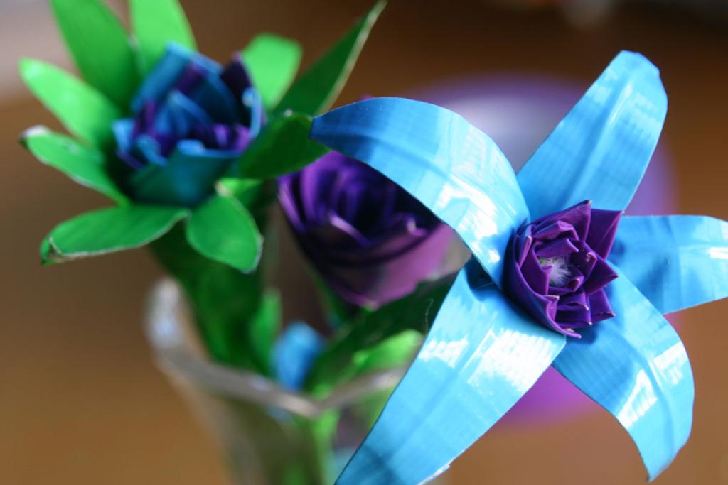 Blue-green-purple-duck-tape-wedding-flowers.full