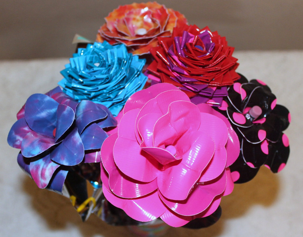Colorful Duct Tape Wedding Flowers Bridal Bouquet Pink Red Purple Blue