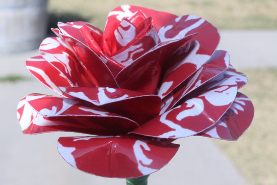 photo of Red rose duct tape wedding flower
