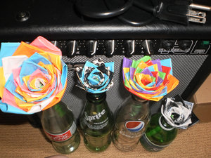 photo of Colorful duct tape wedding centerpieces