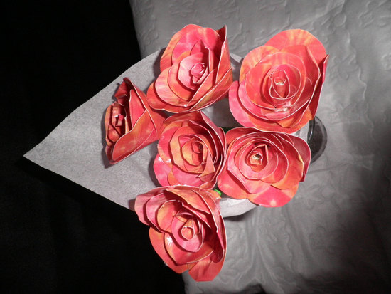 photo of Coral and pink duct tape wedding flowers