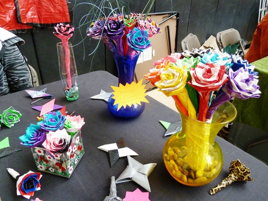 colorful duct tape wedding flowers centerpieces