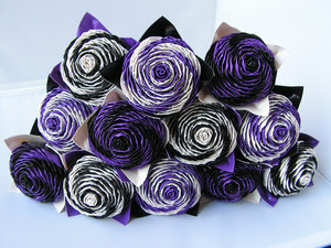 photo of Purple and black duct tape rose bridal bouquet