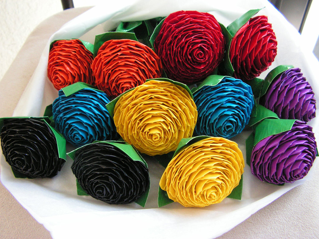 rainbow wedding color palette wedding flower alternatives duct tape roses