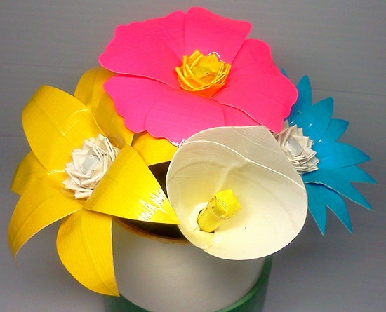 offbeat wedding ideas duct tape bridal bouquet roses eco friendly weddings bright pink yellow blue