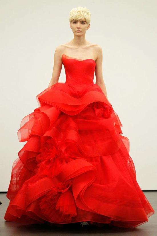 Spring 2012 wedding dresses Vera Wang bridal gown non white dresses red 1