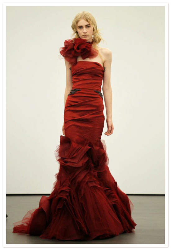 Spring 2012 wedding dresses Vera Wang bridal gown red 1