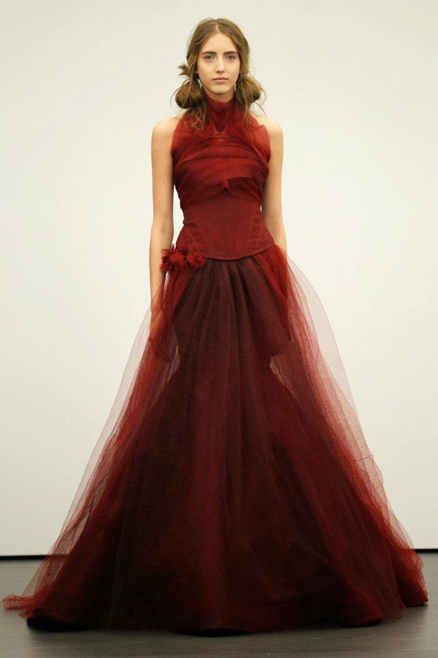 Spring 2012 wedding dresses Vera Wang bridal gown non white dresses red 4