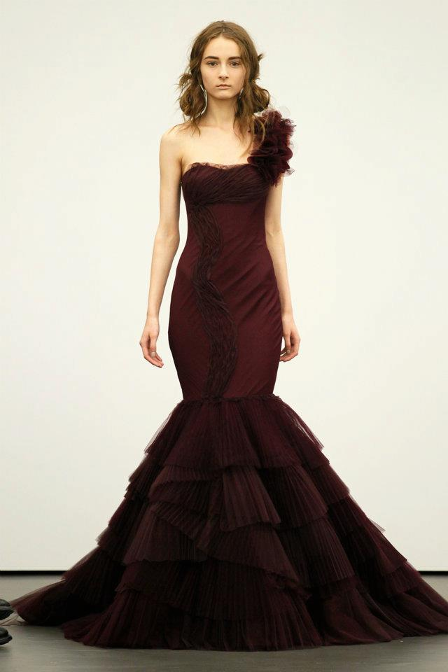 Spring 2012 Wedding Dresses Vera Wang Bridal Gown Non White Dresses Red 6 O