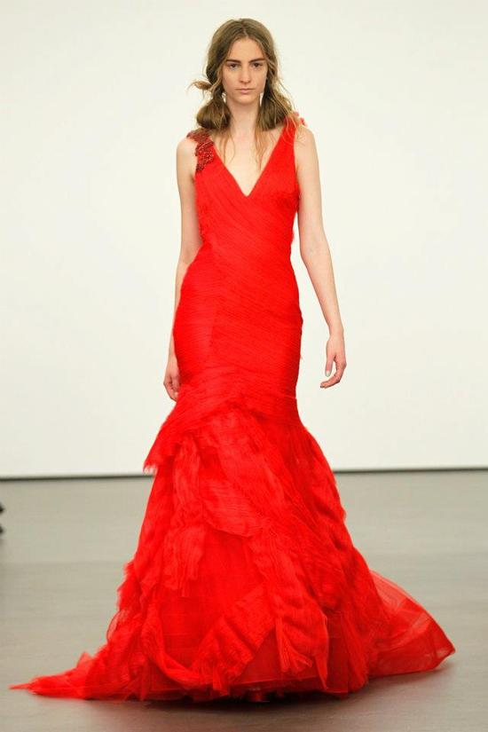 Spring 2012 wedding dresses Vera Wang bridal gown non white dresses red 8
