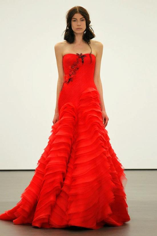 Spring 2012 wedding dresses Vera Wang bridal gown non white dresses red 9