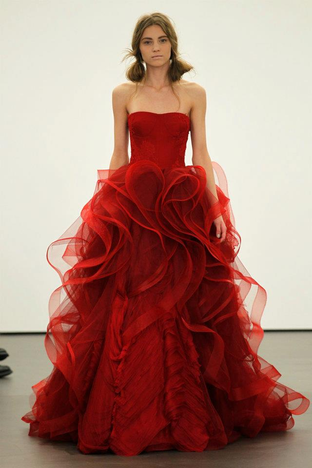 Spring 2012 wedding dresses vera wang bridal gown non for Red and white wedding dresses 2012