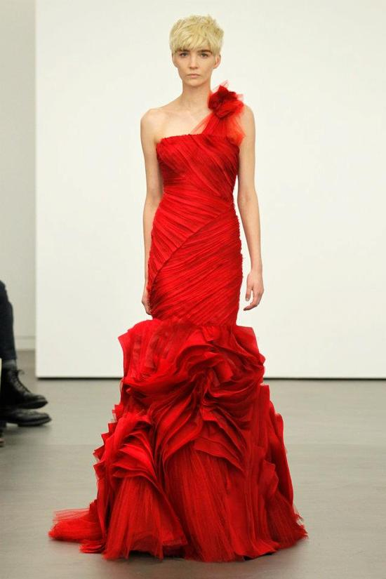 Spring 2012 wedding dresses Vera Wang bridal gown non white dresses red 12