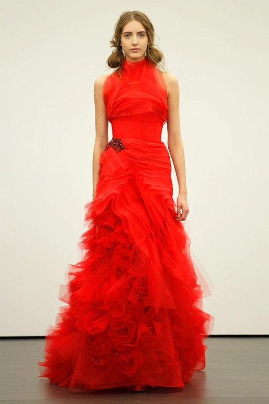 Spring 2012 wedding dresses Vera Wang bridal gown non white dresses red 13
