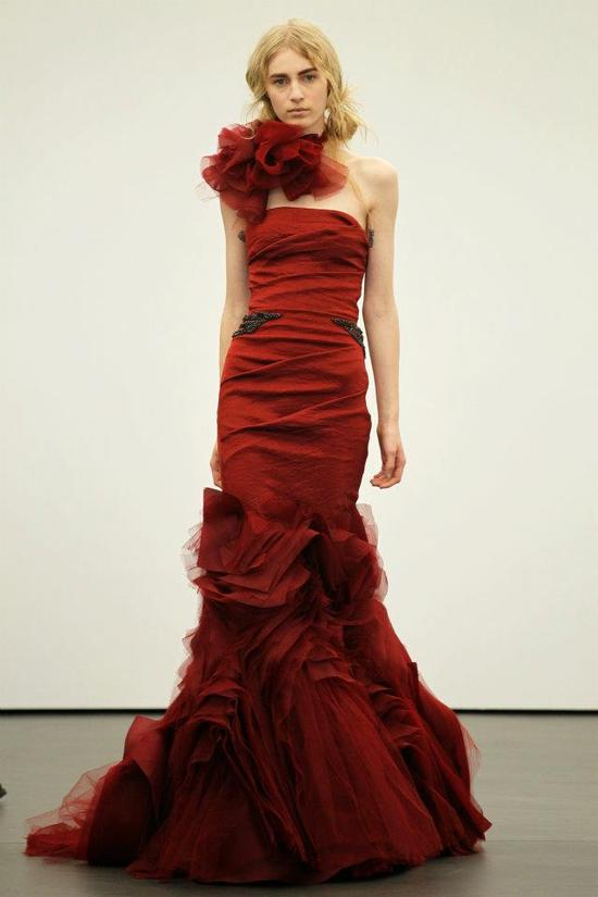 Spring 2012 wedding dresses Vera Wang bridal gown non white dresses red 14