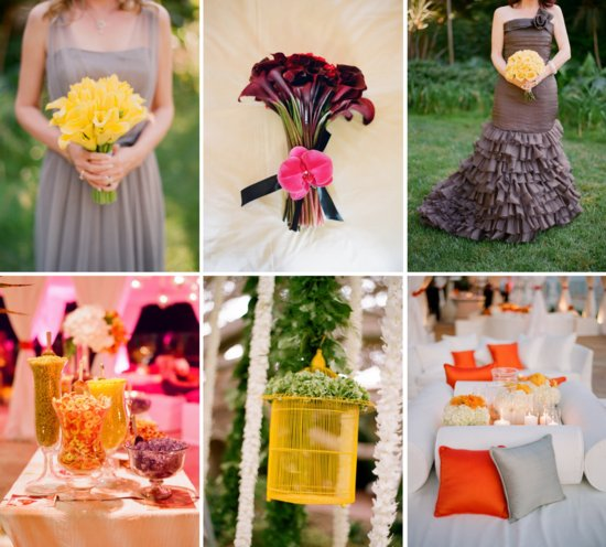 citrus cinnamon wedding color palette paired with gray
