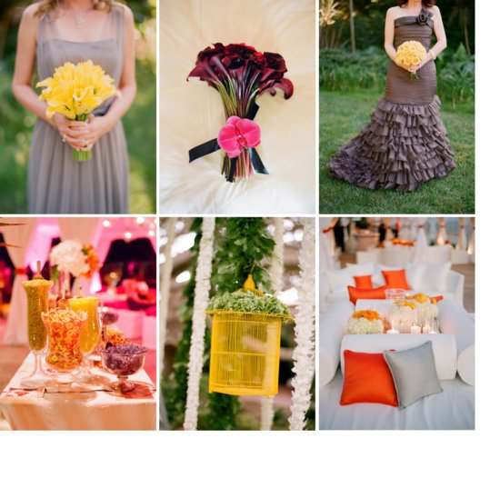 photo of citrus cinnamon wedding color palette paired with gray