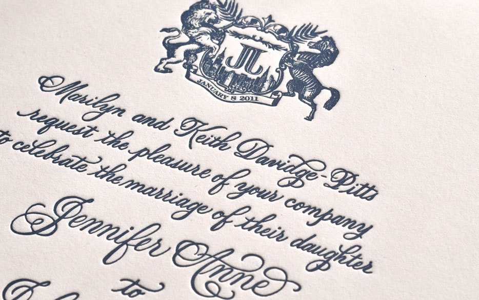 unforgettable wedding invitations midnight blue letterpress monogram