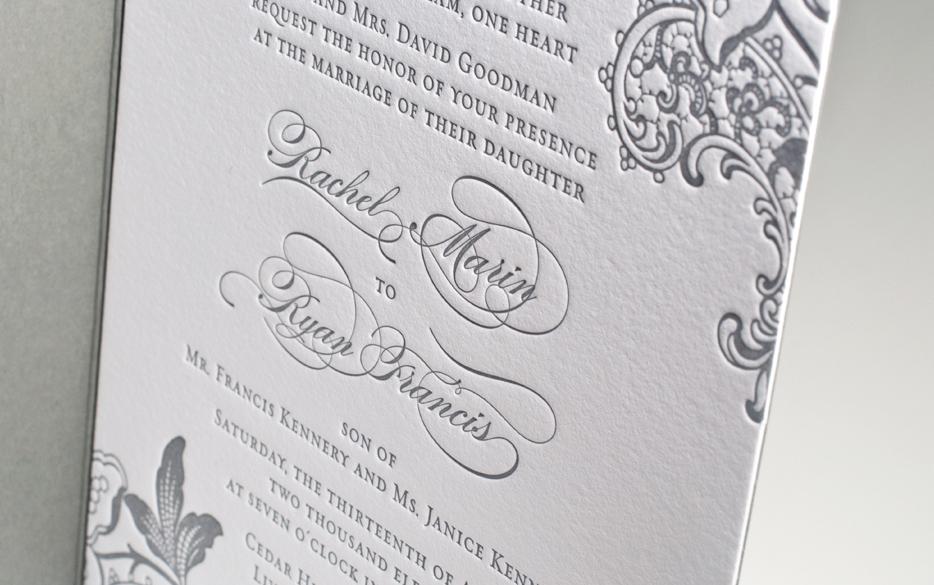 Unforgettable-wedding-invitations-gray-white-calligraphy-letterpress-wedding-stationery.full