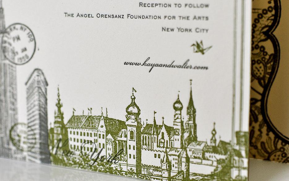 wedding invitations new york theme letterpress 1