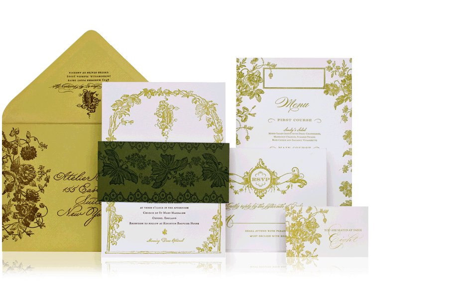 chartreuse white brown wedding invitations elegant
