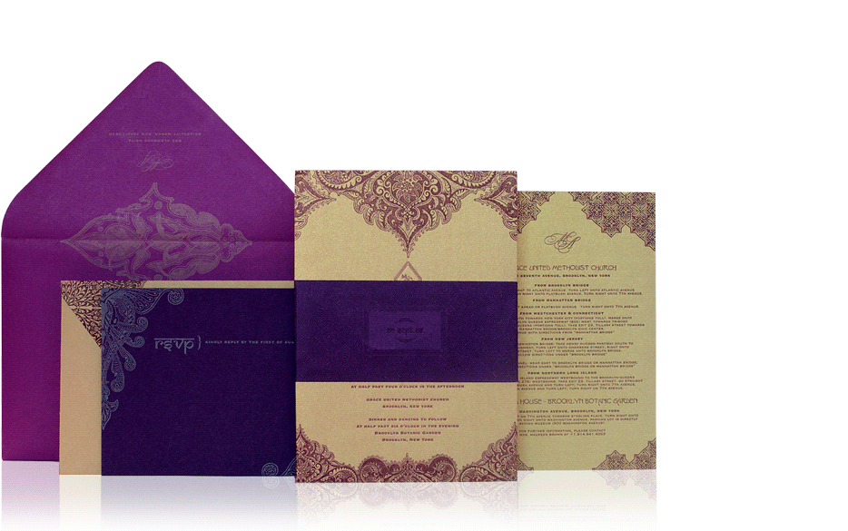 Purple And Gold Wedding Invitation Cards Yaseen for – Gold and Purple Wedding Invitations
