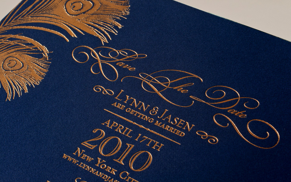 foil wedding invitations gold navy wedding colors