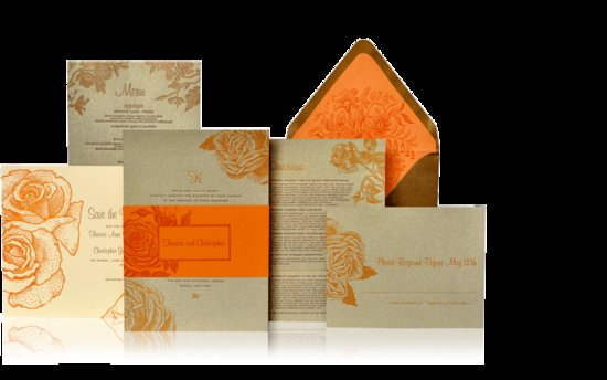 orange gold wedding invitations metallic