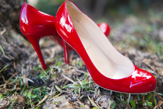photo of red patent leather wedding shoes bridal heels christian louboutin