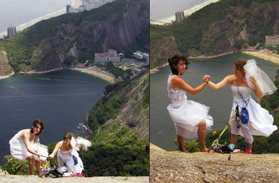 photo of wacky wedding photos weird crazy weddings friday the hiking brides
