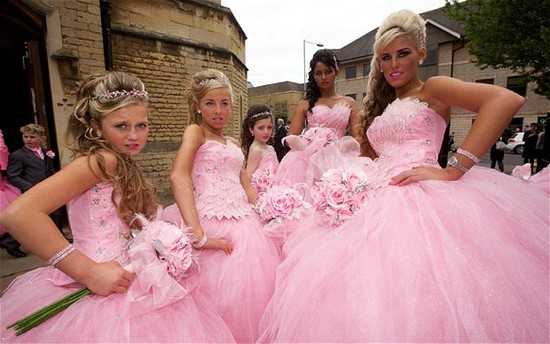 photo of crazy gypsy weddings pink ballgowns