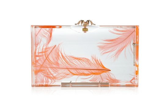 2012 wedding trend feathers coral white bridal clutch