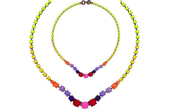 neon wedding inspiration bridal necklace colorful