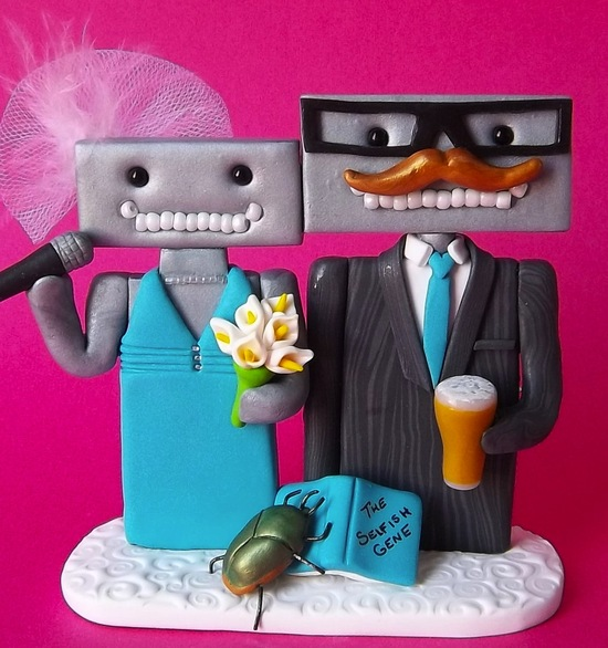 robot wedding cake topper customized for bride and groom
