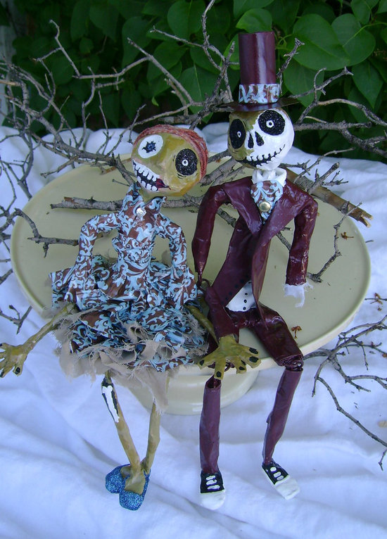 photo of Nightmare Before Christmas style wedding cake topper